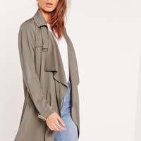Missguided - Buckle Waterfall Trench Coat Grey