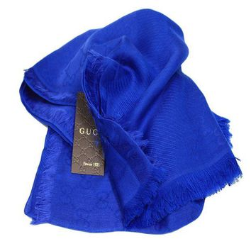LMFMS6 Gucci Women's Royal Blue Wool Silk GG Guccissima Scarf 307245