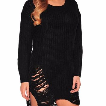 Distressed Cutout Knit Pullover Sweater