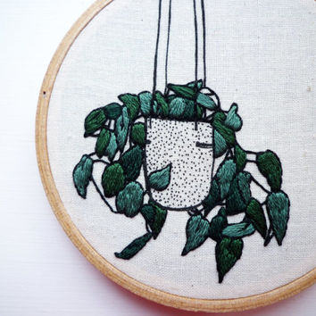Plant Embroidery 'Ivy Planter' 4 inch Hoop Art