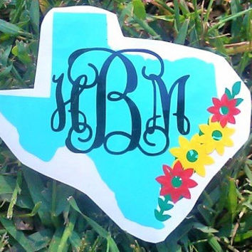 Monogram Decal, Texas Decal, Boho Decal, Personalized Womens, Yeti cup decal, Christmas Gift