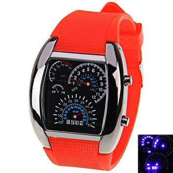 Rubber Band LED Car Watch Unisex Table with Blue Light Display Time Arch Shaped Perfect Gift = 1842981636