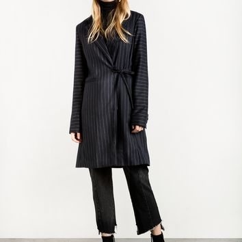 Navy Pinstripe Side Tie Blazer Coat
