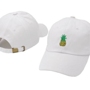 White Pineapple Embroidered Cotton Baseball Outdoor Sports Cap Hats