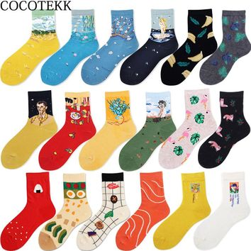 COCOTEKK Brand Quality Retro Combed Cotton Women Socks Oil Painting Van Gogh Socks Art Abstract Happy Personalized Funny Socks