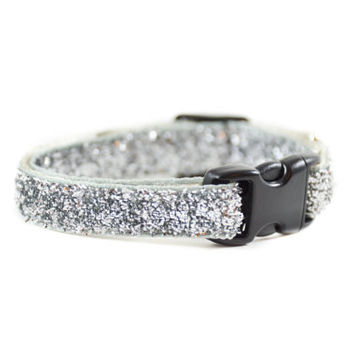 Silver Sparkle Collar for Cats and Dogs - Silver Grey Sparkle Glitter Bling Collar