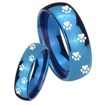 Bride and Groom Paw Print Dome Blue Tungsten Carbide Mens Promise Ring Set