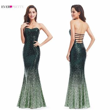 Long Sparkle Evening Dresses Ever Pretty Ombre 2017 New Gorgeous Long Elegant XXGD10070PEC Sequin Mermaid Party Gown Dresses
