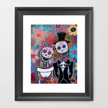 DAY OF THE DEAD WEDDING COUPLE LOVE PAINTING MAGICIAN MAGIC Framed Art Print by Prisarts