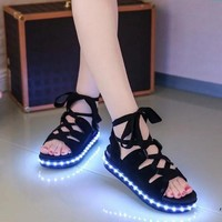 Pep-toe Woman Sandals led light up Shoes