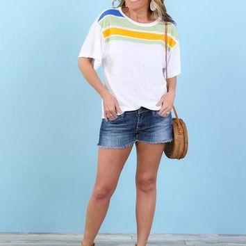 Sunny Skies Striped Colorblock Tee | S-XL