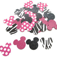 100 Zebra/Polka Dot Minnie Confetti with Black and Hot Pink Glitter - Minnie Mouse Parties, Minnie Polka Dots, Zebra and Polka Dots