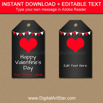 Valentines Day Tags, Valentine's Day Chalkboard Tags, Kids Valentine Tags, EDITABLE Valentines Day Party Favor Tags, Valentine Printable V3