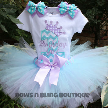Birthday Outfit Aqua, lavender Chevron Tutu First Birthday