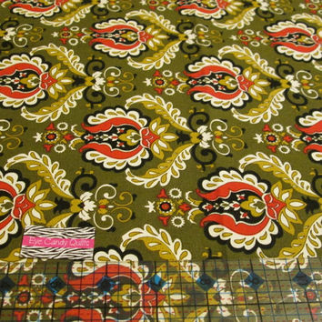 Asian Inspired Fabric, Olive Green, Red, Gold, Damask, Fabric, Cotton Fabric, Fat quarter, Half Yard, Yardage, Quilting, Sewing, Crafting