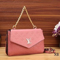 Louis Vuitton Women Fashion New Leather Chain Satchel Monogram Crossbody Shoulder Bag Handbag Pink