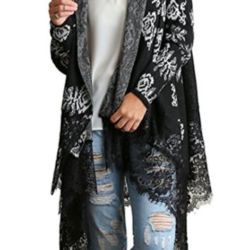 Umgee Women's Lace Trimmed Knit Open Cardigan Sweater