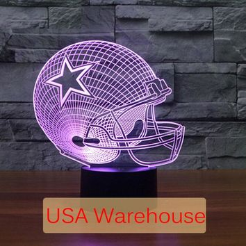 NFL 3D Light Touch LED Lamp 7 Colors Dallas Cowboys 3D Sleeping LED light Lampara Acrylic USB 3D NightLight 3D Kids Night Light