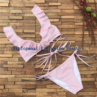 Hot Sexy Trikini Thong Brazilian Bikini 2017 Lovely Pink Striped Ruffled Wrap Bikinis Swimwear Bandage Swimsuit Maillot de bain