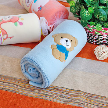 Brown Bear Blue Embroidered Applique Coral Fleece Baby Throw Blanket in 29.5 by 39.4 inches