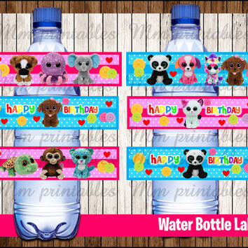 80% OFF SALE Beanie Boo's Water Bottle Label instant download, Printable Beanie Boo Water Bottle Label, Beanie Boo's Party Water Label
