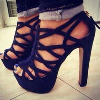 Suede Cut-Outs Chunky Heel Sandals