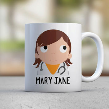 Doctor Gift - Female Doctor - Personalized Mugs - Medical - Health - Stethoscope - Hospital