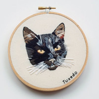 "Hand Embroidered Custom Cat Portrait. Unique 5"" Customized Kitty Picture Hoop Art. Custom Hand Stitched Pet Art. Detailed Pet Portrait."