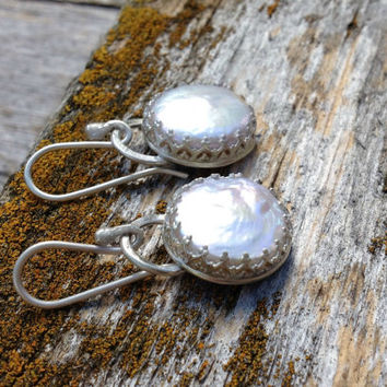Outlander Inspired Coin Pearl and Sterling Silver Scottish Crown Brianna's Bride earrings  wedding pearls, bridal jewelry, pearl earrings