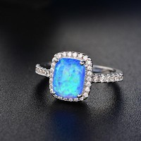 Women's Sterling Silver Natural Sapphire Gemstones and Opal Birthstone Rings+Earrings