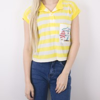 Vintage Yellow Striped Nautical Sailboat Blouse