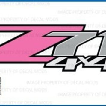 Chevy Silverado Z71 4x4 PINK decals stickers - FP (2007-2013) bed side 1500 2500 HD (set of 2)