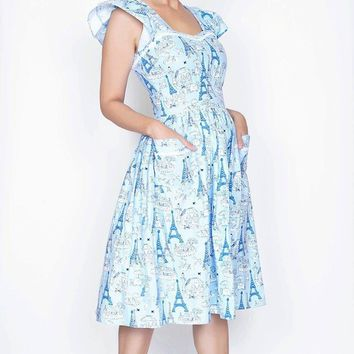 Loretta Dress in Parisian Blue Poodle Print