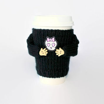 Girlfriend gift. Funny coffee. Valentine's coffee cozy. Pink hearts skull cup sleeve. Mug sweater. Valentine's gift. Gift for her.