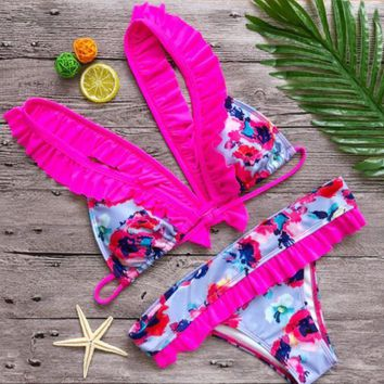 DCCK7BE 2018 Women's swimsuit with a cute bow back end design bikini