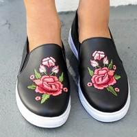 SZ 5.5 Drive You Wild Black Floral Rose Patch Sneaker