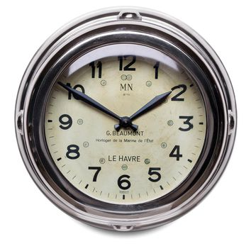 Deck Hand Nickel Plated Aluminum Wall Clock With Beveled Glass -- 8-in
