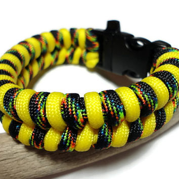 Paracord Survival Bracelet Yellow Black Multi Fishtail Weave Handmade USA S to XL Whistle Buckle for Security