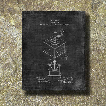 Coffee Grinder Patent 1878 Print Art Illustration Printable Instant Download Poster UP059grad