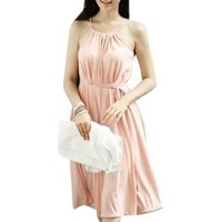 Allegra K Lady Scoop Neck Self Tie String Pullover Dress Light Pink S