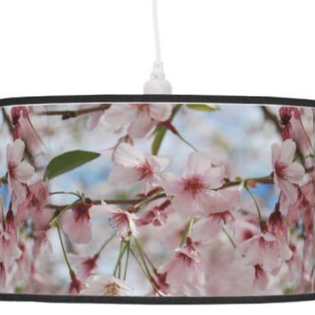 Lamp shade spring cherry blossom, drum pendant lamp shade or table lamp stand decor, hanging light shade, pastel pink flower photo