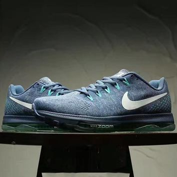 """NIKE"" Fashion Women Running Sport Casual Shoes mesh Sneakers Grey Blue white hook"