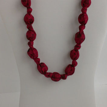 Fabric Wooden Beaded Statement/Nursing Necklace Red