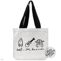 surf jam live in a van, handmade bag, canvas bag, tote bag