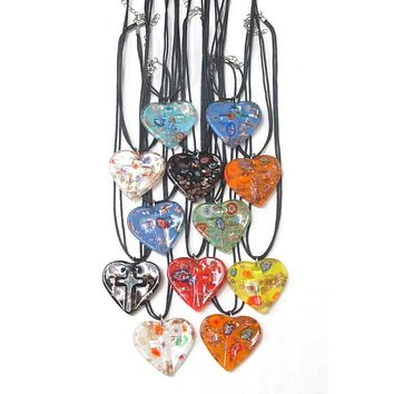 Murano Glass Style Heart and Cross Pendant Necklace