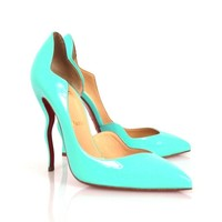 Christian Louboutin Blue Patent Leather Scalloped Asymmetrical Dalida Pumps