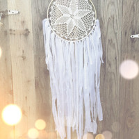 White & Gold Lace Crochet Doily Fabric Dreamcatcher