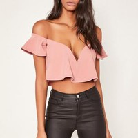 Missguided - Pink Sweetheart Frill Bardot Crop Top