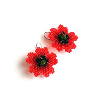 Poppy Earrings-Beaded Poppy Earrings-Seed Bead Poppy Flower Earrings-Red Poppies-Beadwork Poppy Earrings-Beadwoven Red Poppy Earrings