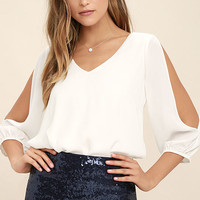 Daily Romance White Long Sleeve Top